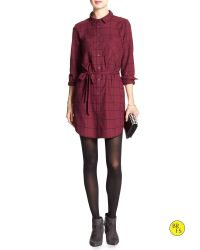 Banana Republic | Red Factory Plaid Tunic Dress | Lyst