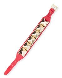 Valentino | Pink Medium Rockstud Leather Bracelet | Lyst