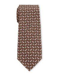 Pierre Cardin - Brown Puppy Print Silk Tie for Men - Lyst