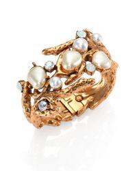 Oscar de la Renta | Metallic Swarovski Crystal Faux Pearl Coral Branch Cuff Bracelet | Lyst