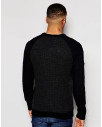Native Youth - Black Cable Contrast Sleeve Jumper for Men - Lyst
