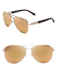 Michael Kors - Pink Fiji Chainlink Mirrored Aviator Sunglasses, 58mm - Lyst