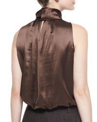 Lafayette 148 New York - Brown Silk Sleeveless Blouse - Lyst