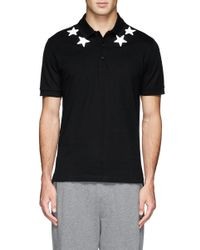 Givenchy - Black Star Applique Polo Shirt for Men - Lyst