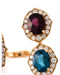Monan - Metallic Three Stone Ring - Lyst