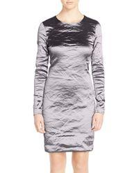 Nicole Miller | Gray Mercedes Plisse Sheath Dress | Lyst