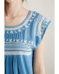 Forever 21 | Blue Embroidered Gauze Top | Lyst