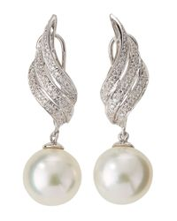 Belpearl - White Diamond Wing South Sea Pearl Drop Earrings - Lyst