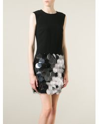 DKNY - Black Sequin Detail Sleeveless Dress - Lyst
