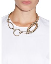 Balenciaga - Metallic Oval Chain-Link Brass Necklace - Lyst