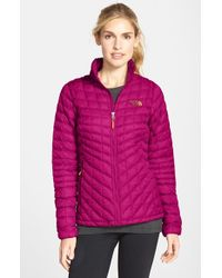 The North Face | Pink 'thermoball' Primaloft Front Zip Jacket | Lyst