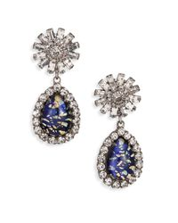 DANNIJO - Blue Rayna Crystal Starburst Teardrop Earrings - Lyst
