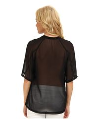 BCBGeneration - Black Knit Tee W Chiffon Sleeves - Lyst