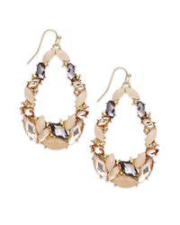 INC International Concepts - Natural Goldtone Blush and Black Diamond Stone Teardrop Earrings - Lyst