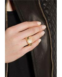 Chloé - Metallic Darcey Gold-Tone Faux Pearl Ring - Lyst