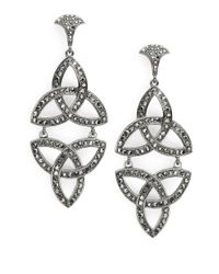 R.j. Graziano | Black Interlocking Drop Earrings | Lyst