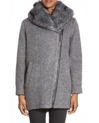 Vince Camuto | Gray Faux Fur Trim Grooved Wool Blend Coat | Lyst