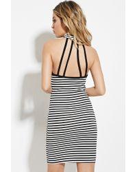 Forever 21 - Black Striped Halter Dress - Lyst