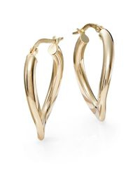 Saks Fifth Avenue | Metallic 14K Yellow Gold Wave Hoop Earrings/1"