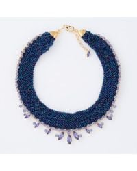 Paul Smith - Blue Women's Navy Beaded And Aqua 'cleopatra' Necklace - Lyst