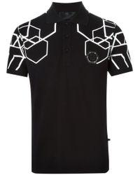 Philipp Plein | Black Hexagonal Print Polo Shirt for Men | Lyst