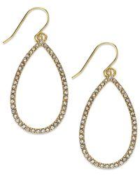 Lauren by Ralph Lauren | Metallic Gold-Tone Crystal Pave Open Teardrop Earrings | Lyst