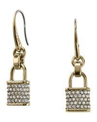 Michael Kors | Gray Pave Padlock Drop Earrings | Lyst