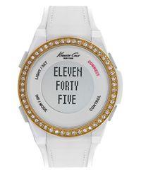 Kenneth Cole - White Crystal Bezel Smart Watch - Lyst