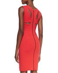Narciso Rodriguez - Red Sleeveless Harness-back Sheath Dress - Lyst