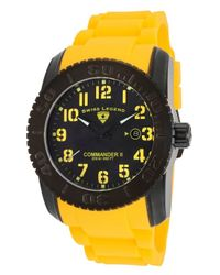 Swiss Legend | Commander Ii Yellow Silicone Black Dial Black Bezel Yellow Accents for Men | Lyst