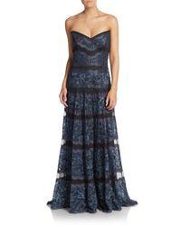 Tadashi Shoji - Blue Lace Strapless Gown - Lyst