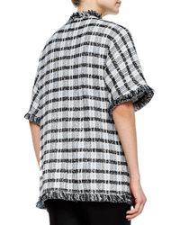 St. John - Black Damier Paillette Tweed Knit Cardigan - Lyst