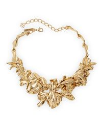 Oscar de la Renta - Metallic Golden Tulip Pave Statement Bib Necklace - Lyst