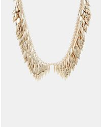French Connection | Metallic Leafy Peter Pan Collar Necklace | Lyst