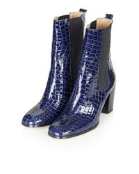 TOPSHOP | Blue Molly Chelsea Boots | Lyst