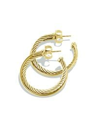 David Yurman | Metallic Crossover Medium Hoop Earrings In Gold | Lyst
