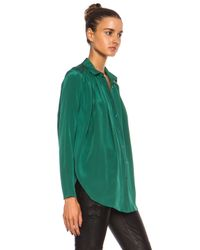 KENZO - Green Draped Crepe De Chine Button Front Blouse - Lyst
