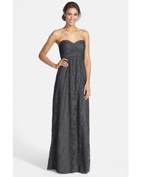 Amsale | Gray Pleated Lace Sweetheart Gown | Lyst