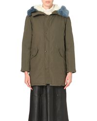 Shrimps | Green Shearling-trim Cotton-blend Parka Coat | Lyst