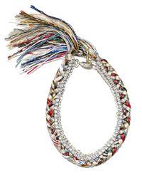 Alyssa Norton | Multicolor Multi Colored Silk Bracelet With Silver Chain And Clear Rhinestones | Lyst