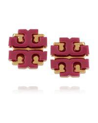 Tory Burch | Metallic Goldtone Enamel Earrings | Lyst