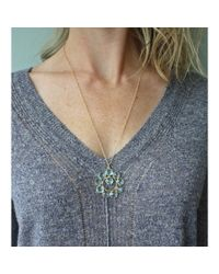 "Peyton William Handmade Jewelry | 22"" Blue Topaz Halo Necklace 