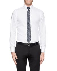 Lanvin - Gray Chevron Print Silk Satin Tie for Men - Lyst