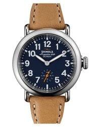 Shinola - Brown 'the Runwell' Leather Strap Watch - Lyst