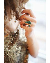 Eshvi - Multicolor Back To School Malachite Open Ring - Lyst