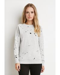 Forever 21 - Gray Paint Spatter Graphic Sweatshirt - Lyst