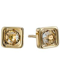COACH | Metallic Pave Square Stud Earrings | Lyst