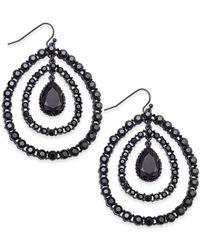 INC International Concepts - Black Hematite-tone Crystal Orbital Drop Earrings, Only At Macy's - Lyst