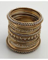 Chamak by Priya Kakkar | Metallic Set Of 24 Gold Glitter and Crystal Bangles | Lyst