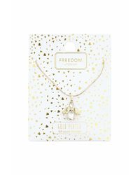 TOPSHOP | Metallic Gold Plated Angel Ditsy Necklace | Lyst